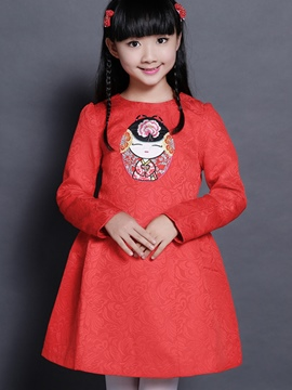 Ericdres Doll Print Long Sleeve Girls Dress