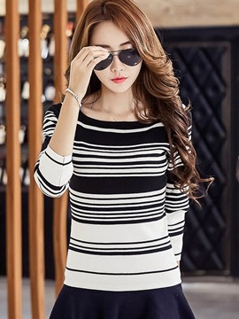 Ericdress Stripe Slim Long Sleeve T-Shirt