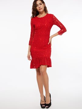 Ericdress Round Neck Knee-Length Lace Dress