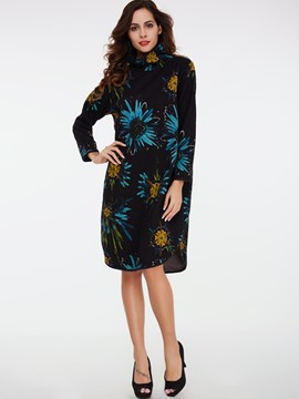 Ericdress Turtleneck Floral Print Pullover Casual Dress