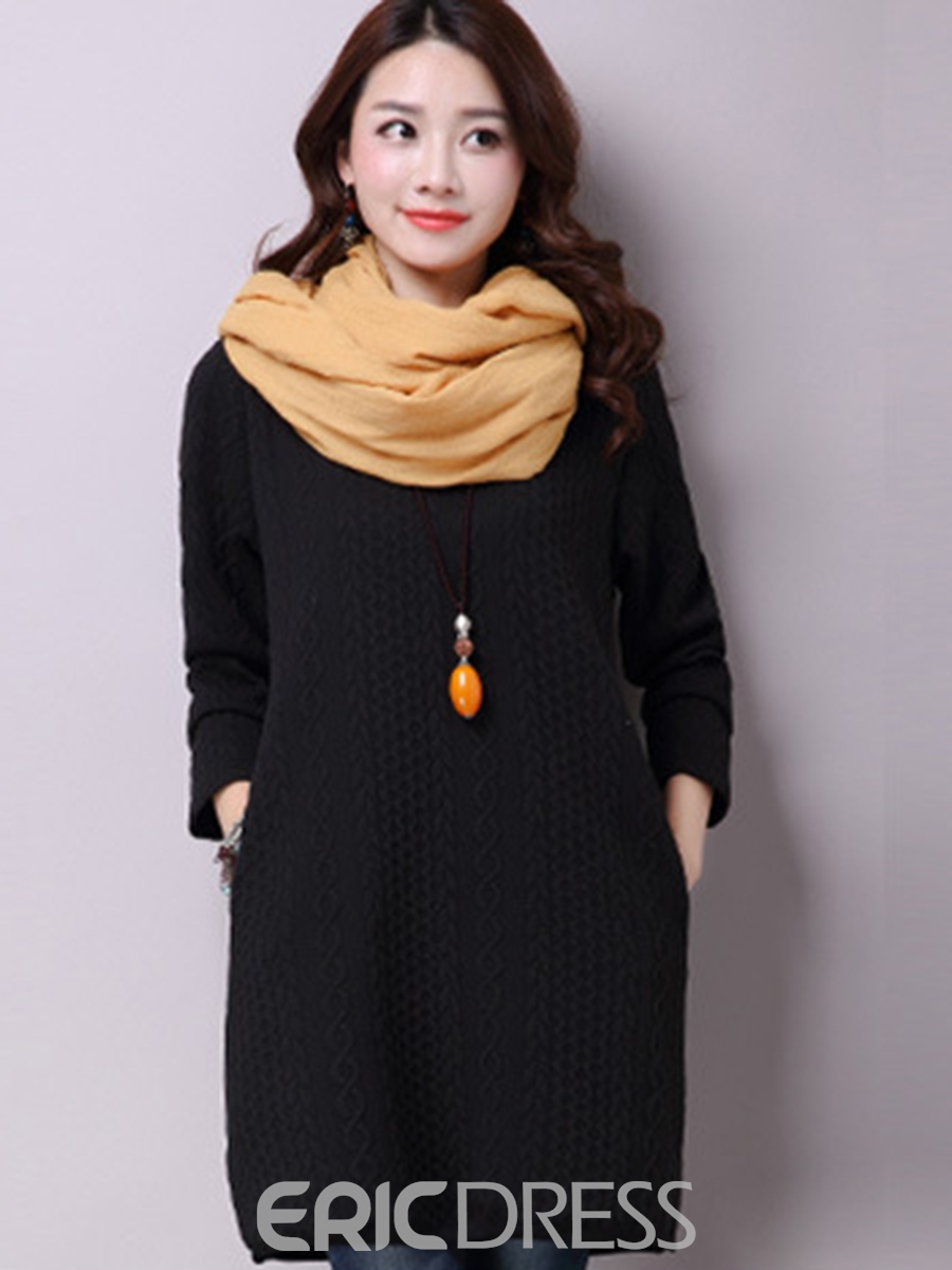 Ericdress Weave Knitting Round Collar Above Knee Loose Casual Dress