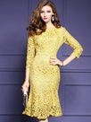 Ericdress Round Collar Hollow Patchwork Mermaid Lace Dress