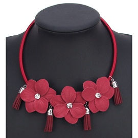 Ericdress Red Flower with Rhinestone Pendant Necklace