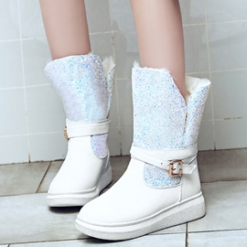 Ericdress Warm Furry Sequins Patchwork Snow Boots