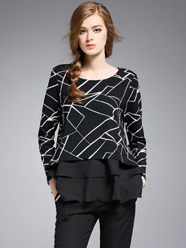 Ericdress Black Lace Patchwork T-Shirt