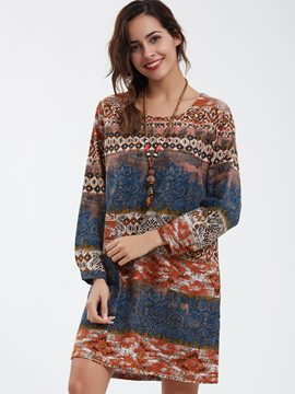 Ericdress Bohemian Round Neck Geometric Printed Casual Dress
