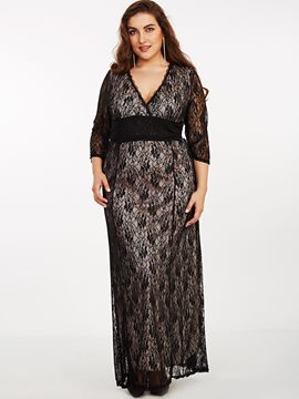 Ericdress Plus-Size Lace Patchwork High-Waist Maxi Dress
