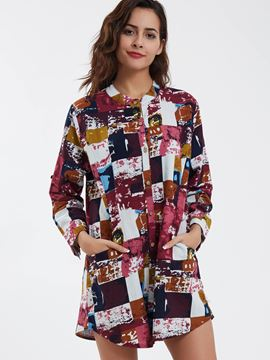 Ericdress Single-Breasted Color Block Loose Blouse