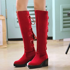 Ericdress Round Toe Buckles Thigh High Boots
