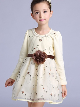 Ericdress Floral Embroidery Bead patchwork Girls Dress
