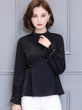Ericdress Crew Neck Pelplum Plain T-Shirt