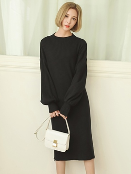 Ericdress Round Collar Lantern Sleeve Straight Mid-Calf Sheath Dress