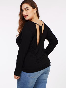 Ericdress Black Hollow Back Plus Size T-Shirt