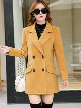 Ericdress Solid Color Slim Double-Breasted Coat