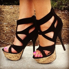Ericdress Black Cut Out Platform Cage Sandals