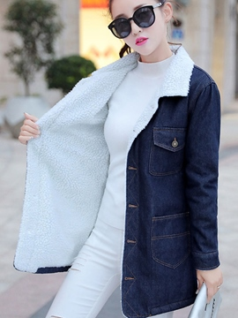 Ericdress Color Block Straight Fleece Denim Outerwear