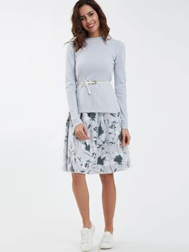 Ericdress Long Sleeve Sweater Floral Print Dress Suit