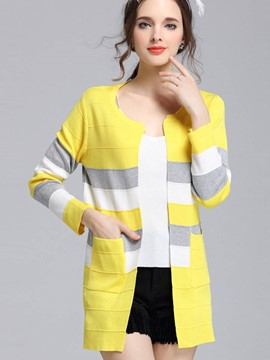 Ericdress Color Block Cardigan Knitwear
