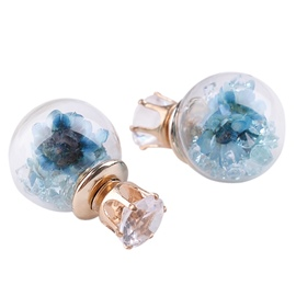 Ericdress Blue Flowers Spherical Stud Earrings