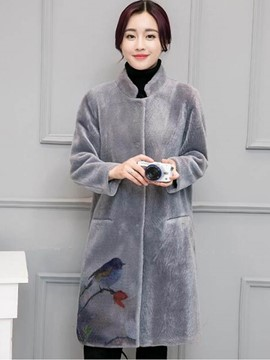 Ericdress Straight Stand Collar Printed Coat