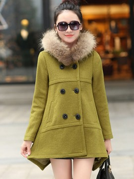 Ericdress Loose Double-Breasted Faux Fur Collar Coat