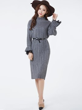 Ericdress Turtleneck Flare Sleeves Pleated Sheath Dress
