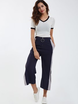 Ericdress Color Block Loose Wide Legs Casual Pants