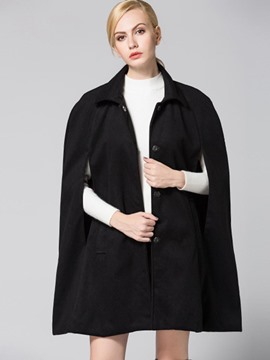 Ericdress Single-Breasted Solid Color Cape
