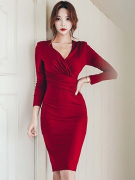 Ericdress Cross V-Neck Patchwork Pleated Sheath Dress
