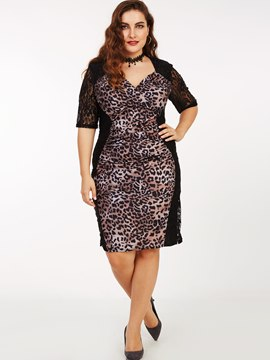 Ericdress Leopard Print Lace Patchwork Cross V-Neck Bodycon Dress