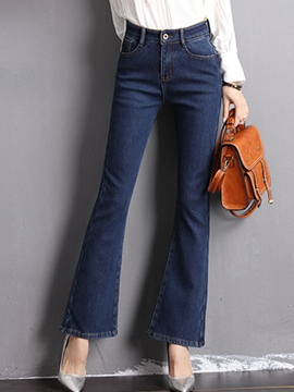 Ericdress High-Waist Thick Bellbottom Jeanse