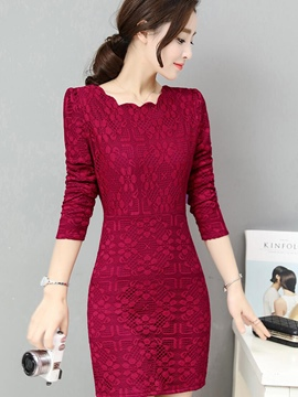 Ericdress Wave Cut Round Collar Patchwork Floral Lace Dress