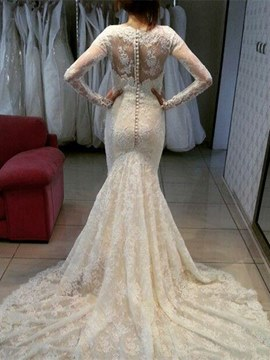 Ericdress Beautiful Scoop Long Sleeves Mermaid Lace Wedding Dress