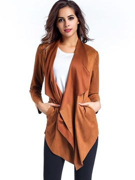 Ericdress Loose Solid Color Casual Trench Coat