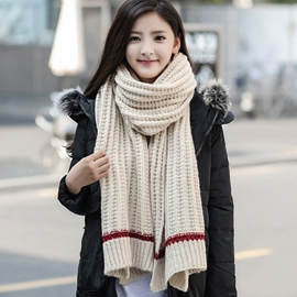 Ericdress Double Colors Woolen Yarn Knitted Scarf