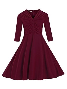 Ericdress Pleated Patchwork V-Neck Button Casual Dress