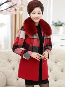 Ericdress Color Block Plaid Plus Size Coat