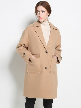 Ericdress Single-Breasted Loose Polo Coat