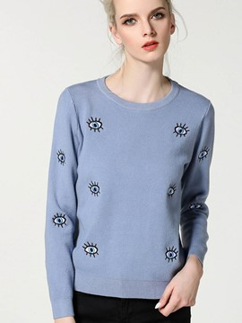 Ericdress Round Neck Long Sleeve Womens Knitwear