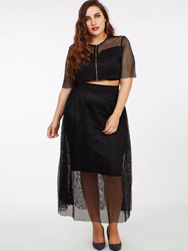 Ericdress Hollow Mesh See-Through High-Waist Skirt Suit