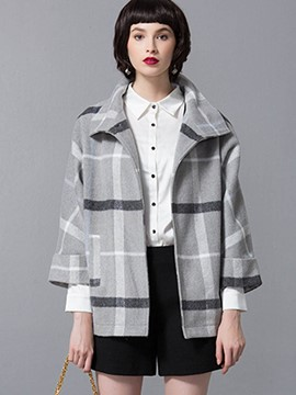 Ericdress Turn Down Loose Plaid Coat