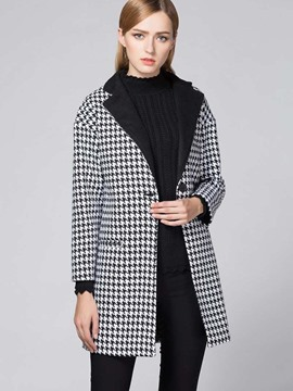 Ericdress Straight Houndstooth Polo Coat