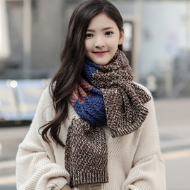 Ericdress Color Block Woolen Yarn Knitted Scarf