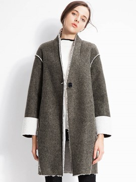 Ericdress Color Block One-Button Loose Coat