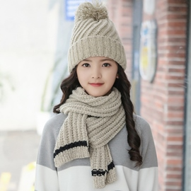Ericdress Simple Knitted Warm Hat & Scarf