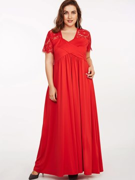 Ericdress Scoop Cross Pleated Lace Patchwork Maxi Dress
