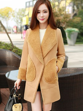 Ericdress Loose Fleece Patchwork Coat