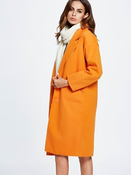 Ericdress Loose Plain Polo Coat