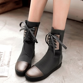 Ericdress Unique Patchwork Round Toe Ankle Boots