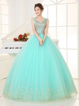 Ericdress Charming Jewel Neck Long Sleeves Appliques Ball Quinceanera Dress